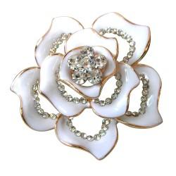 鍍金水晶玫瑰型胸針
