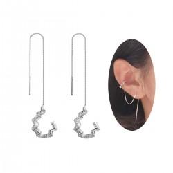925 銀波浪耳環